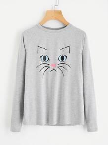 Camiseta tejida de marga con estampado de gato con manga de raglán