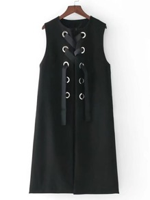 Lace Up Grommet Split Side Long Vest