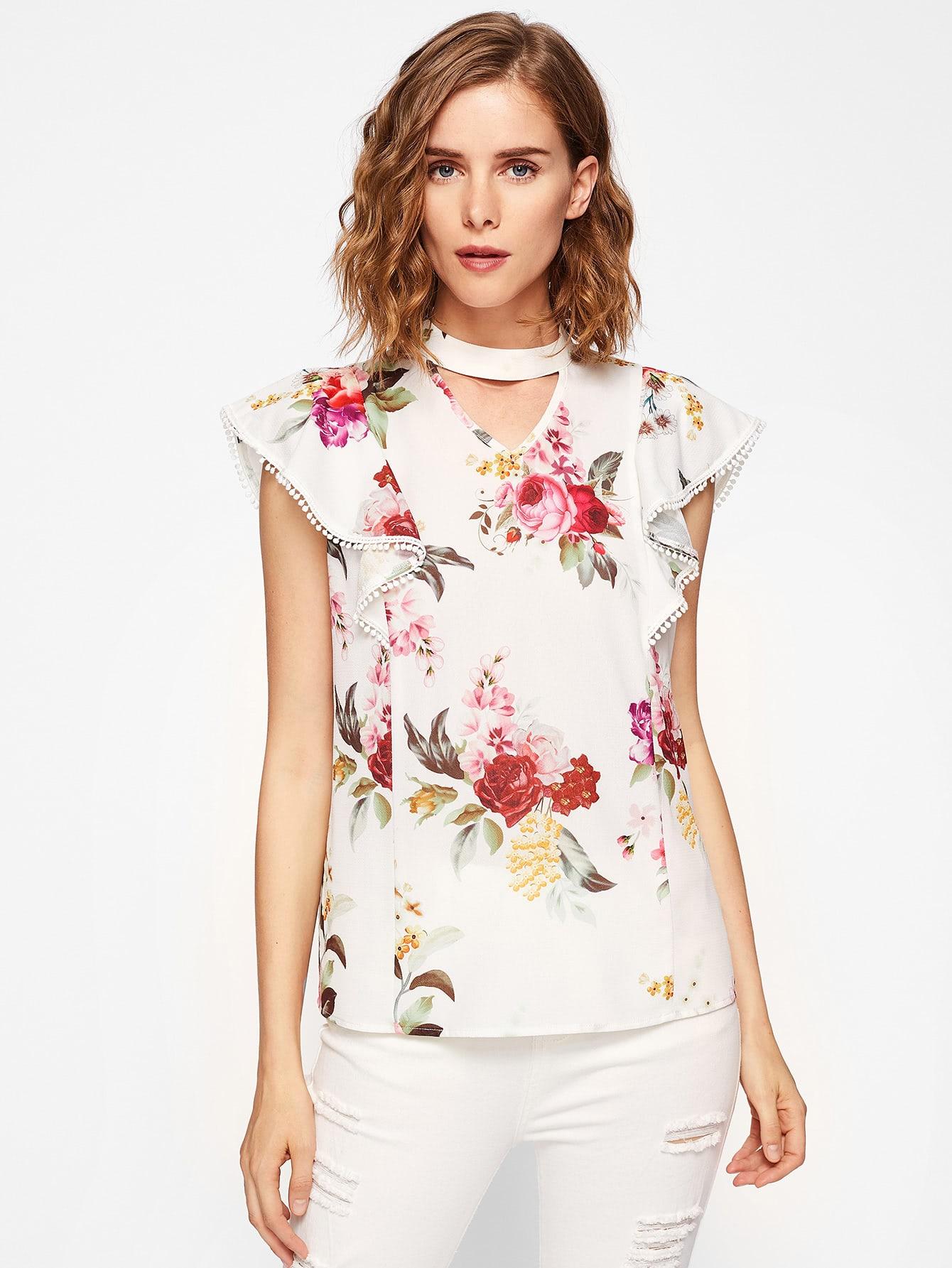 Фото Choker Neck Flutter Sleeve Floral Top. Купить с доставкой