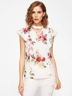 Choker Neck Flutter Sleeve Floral Top