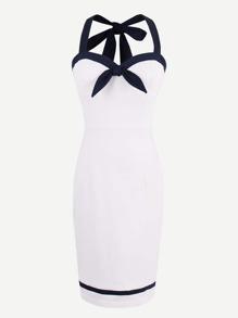 Contrast Trim Tie Detail Halter Strap Circle Dress