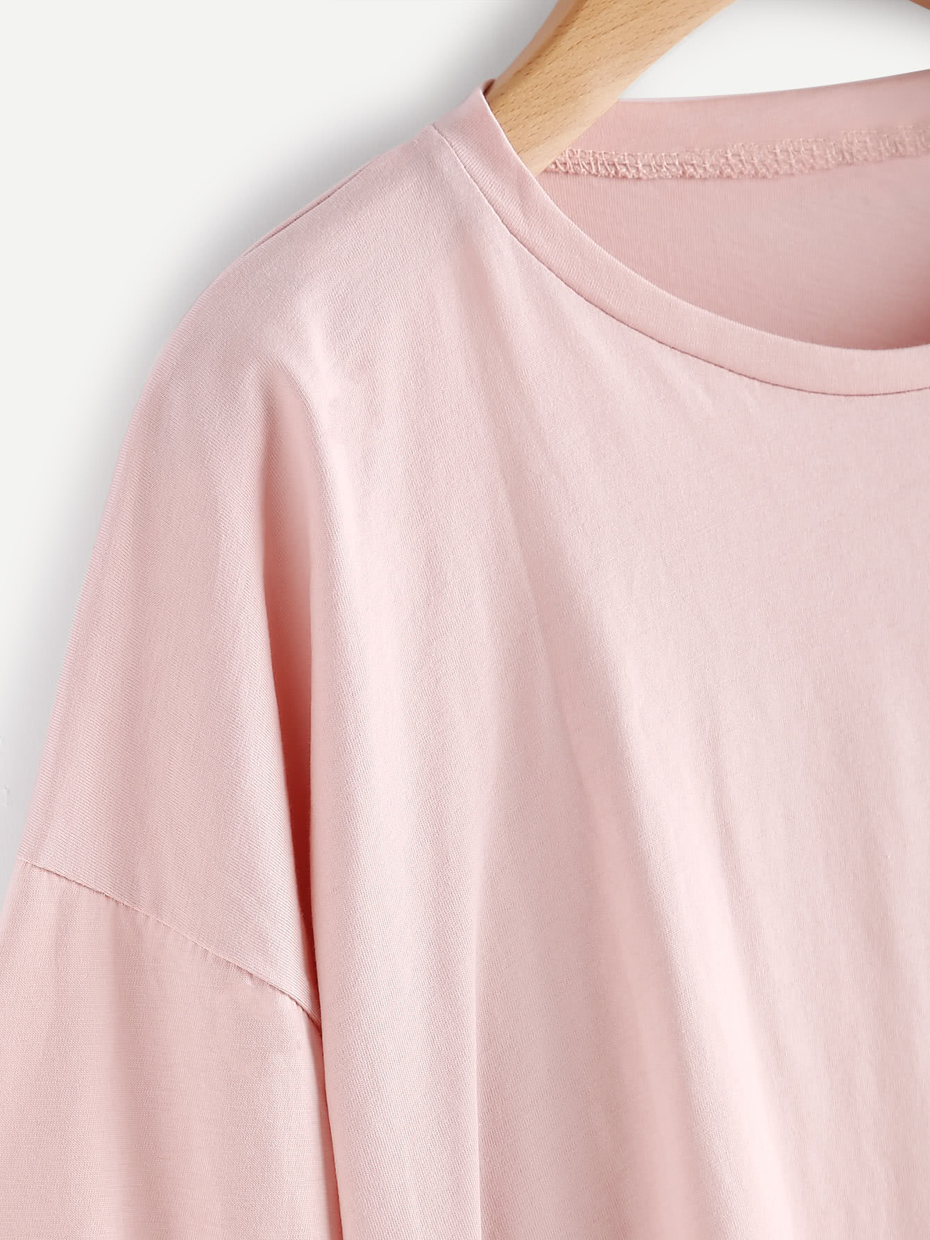 Asymmetric Contrast Tee With Tie Detail