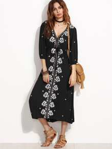 Flower Embroidered Drawstring Waist Dress