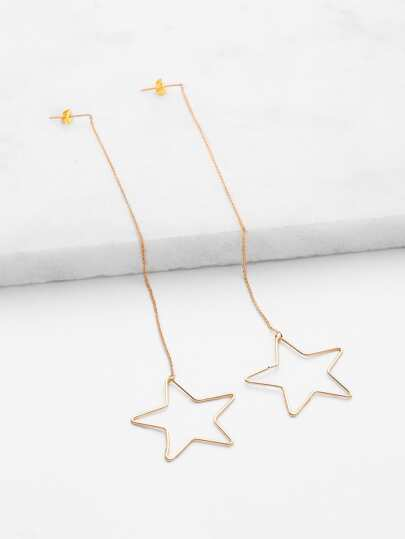 Hollow Star Design Drop Earrings