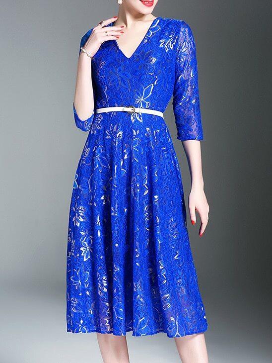 V Neck Belted Leaves Lace Dress