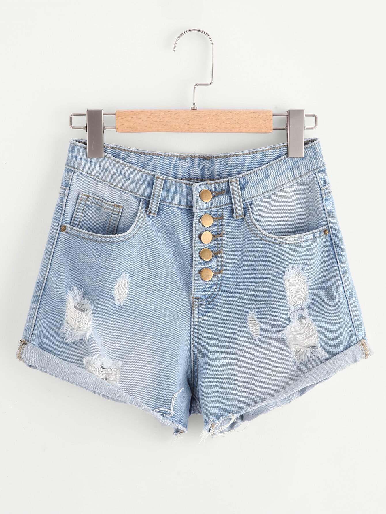 Фото Buttoned Front Light Wash Roll Hem Denim Shorts. Купить с доставкой