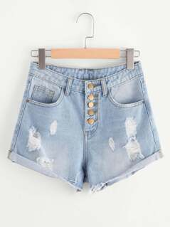 Buttoned Front Light Wash Roll Hem Denim Shorts