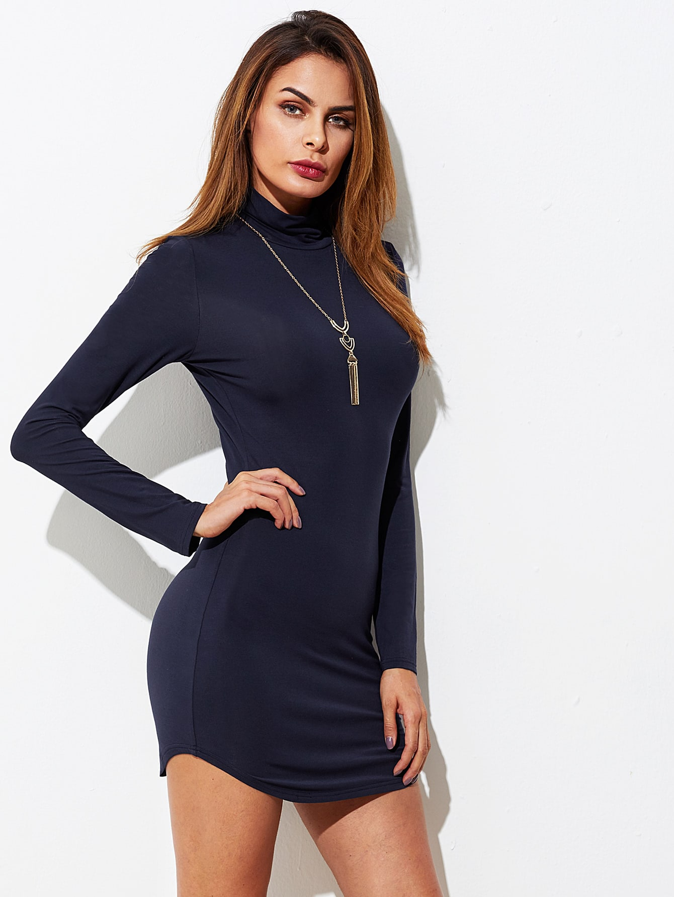 Cowl Neck Curved Hem Bodycon Dress batwing sleeve pocket side curved hem textured dress