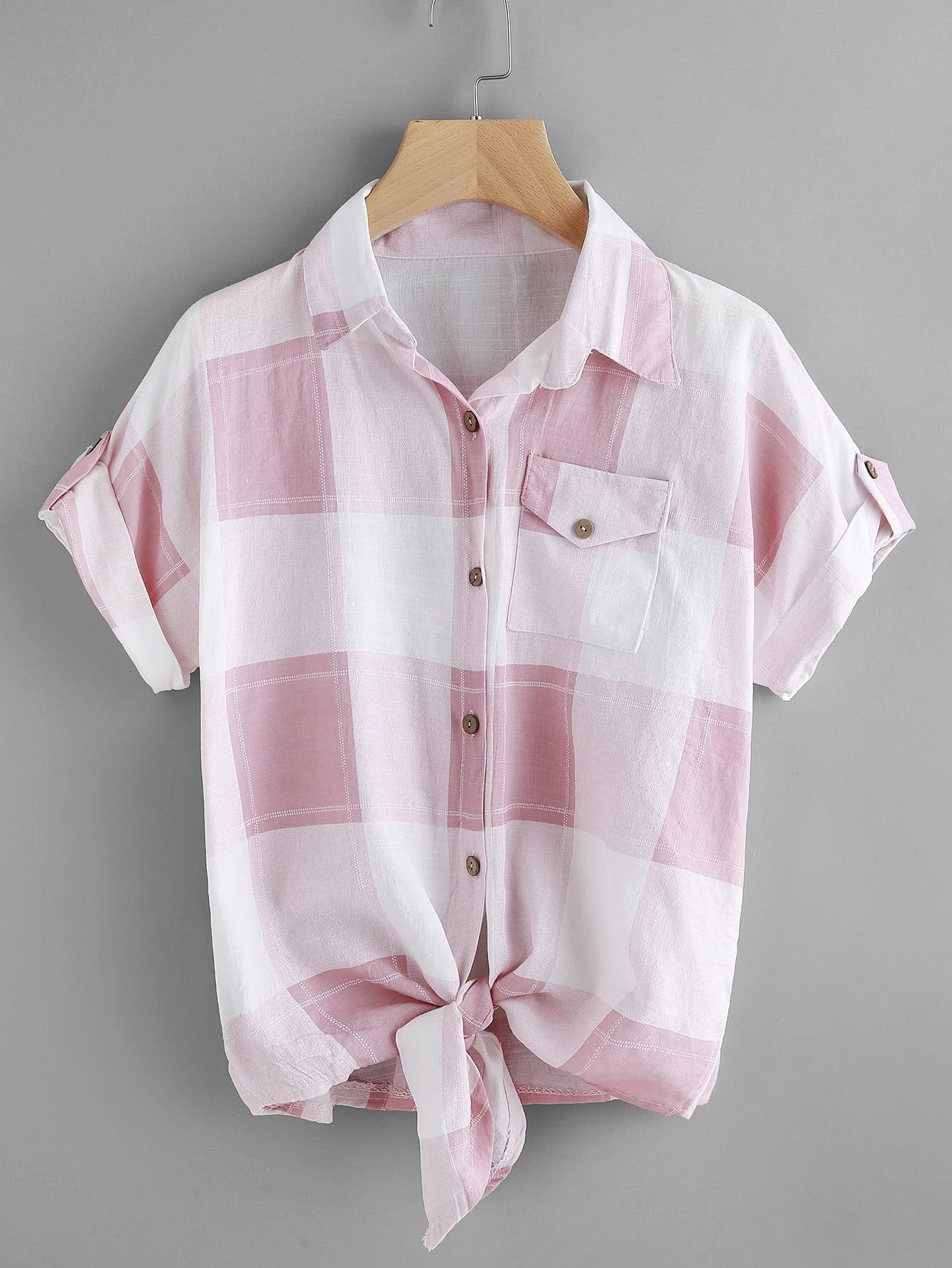 Фото Check Plaid Knotted Hem Shirt. Купить с доставкой