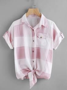 Check Plaid Knotted Hem Shirt