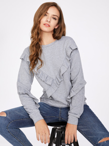 Ruffle  Detail Heather Knit Sweatshirt