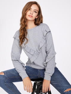 Ruffle  Detail Heather Knit Sweatshirt