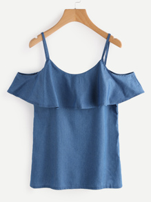 Flounce Layered Chambray Top