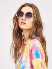 Asymmetrical Frame Round Sunglasses