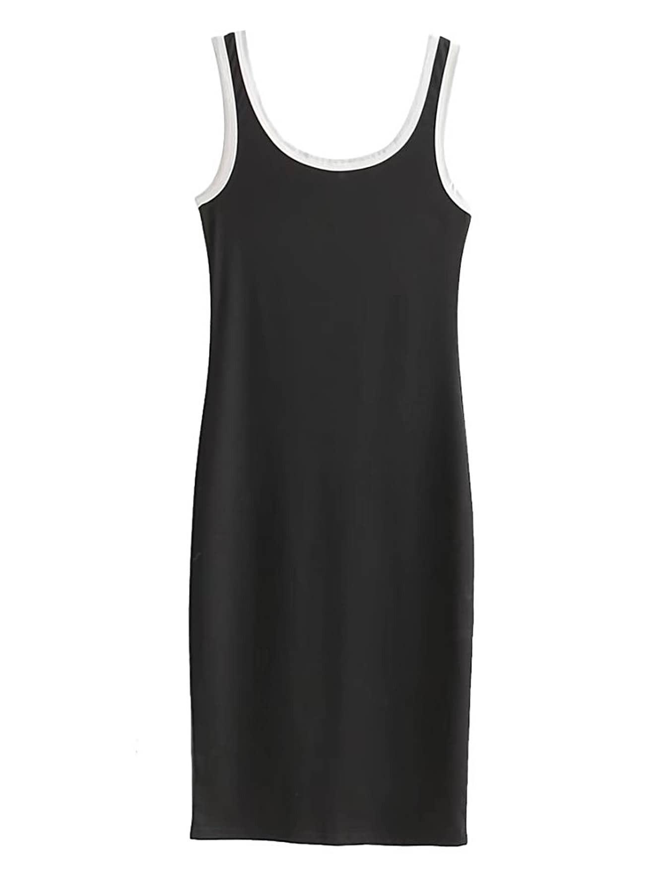 Фото Contrast Binding Tank Dress. Купить с доставкой