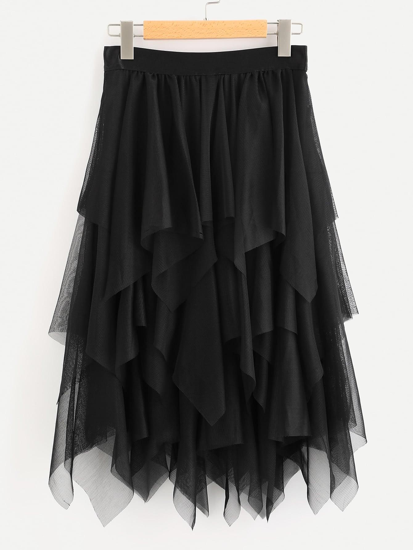 Фото Layered Handkerchief Hem Skirt. Купить с доставкой