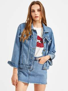 Raw Edge Frill Trim Denim Jacket