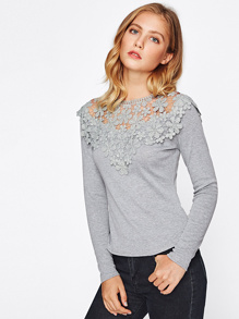 Guipure Lace Yoke Slim Fit Heathered Tee