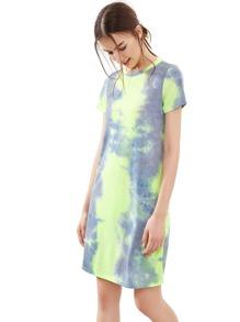 Pastel Tie Dye Print Tee Dress
