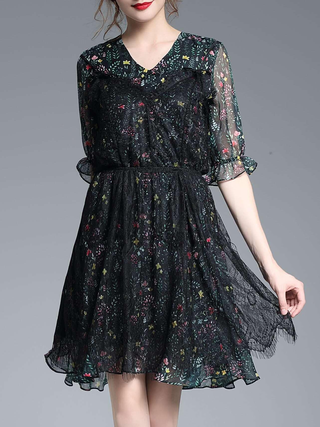 Фото V Neck Contrast Lace Floral Dress. Купить с доставкой