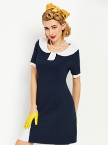 Contrast Panel Sailor Nautical Slim Dress