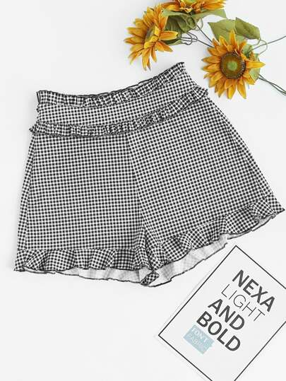 Ruffle Trim Tailored Gingham Shorts