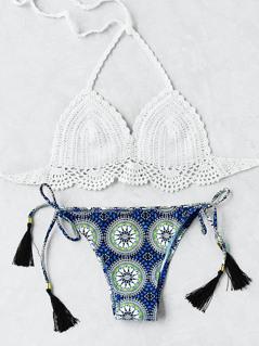 Graphic Print Tassel Tie Crochet Bikini Set