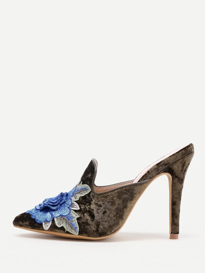 Flower Embellished Stiletto Mules