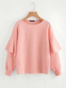 Layered Ruffle Sleeve Textured Sweatshirt