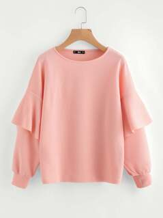 Layered Ruffle Sleeve Textured Sweatshirt