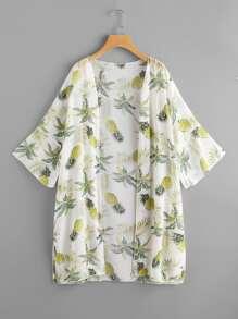 Kimono mousseline imprimé des feuilles