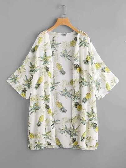 Foliage Print Chiffon Kimono