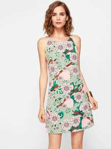 All Over Florals Curved Hem Dress