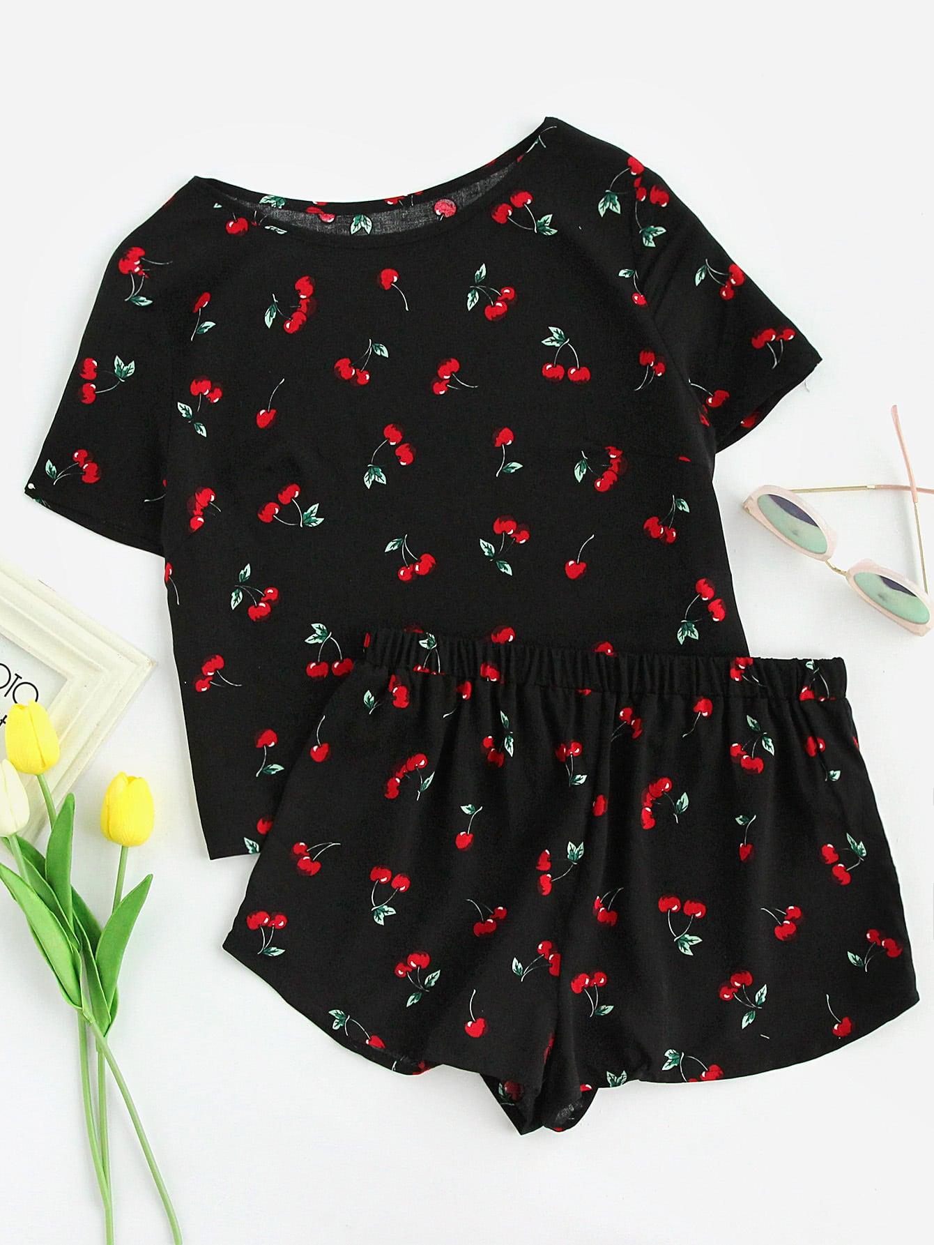 Cherry Print Top And Shorts Pajama Set high low top and frill hem shorts pajama set