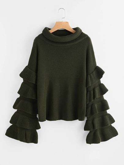 Funnel Neck Layered Bell Sleeve Jumper