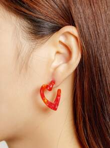 Sweetheart Shaped Stud Earrings