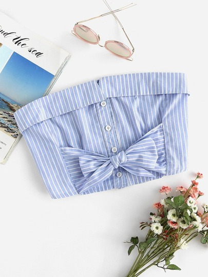 Striped Foldover Bow Tie Front Crop Bandeau Top