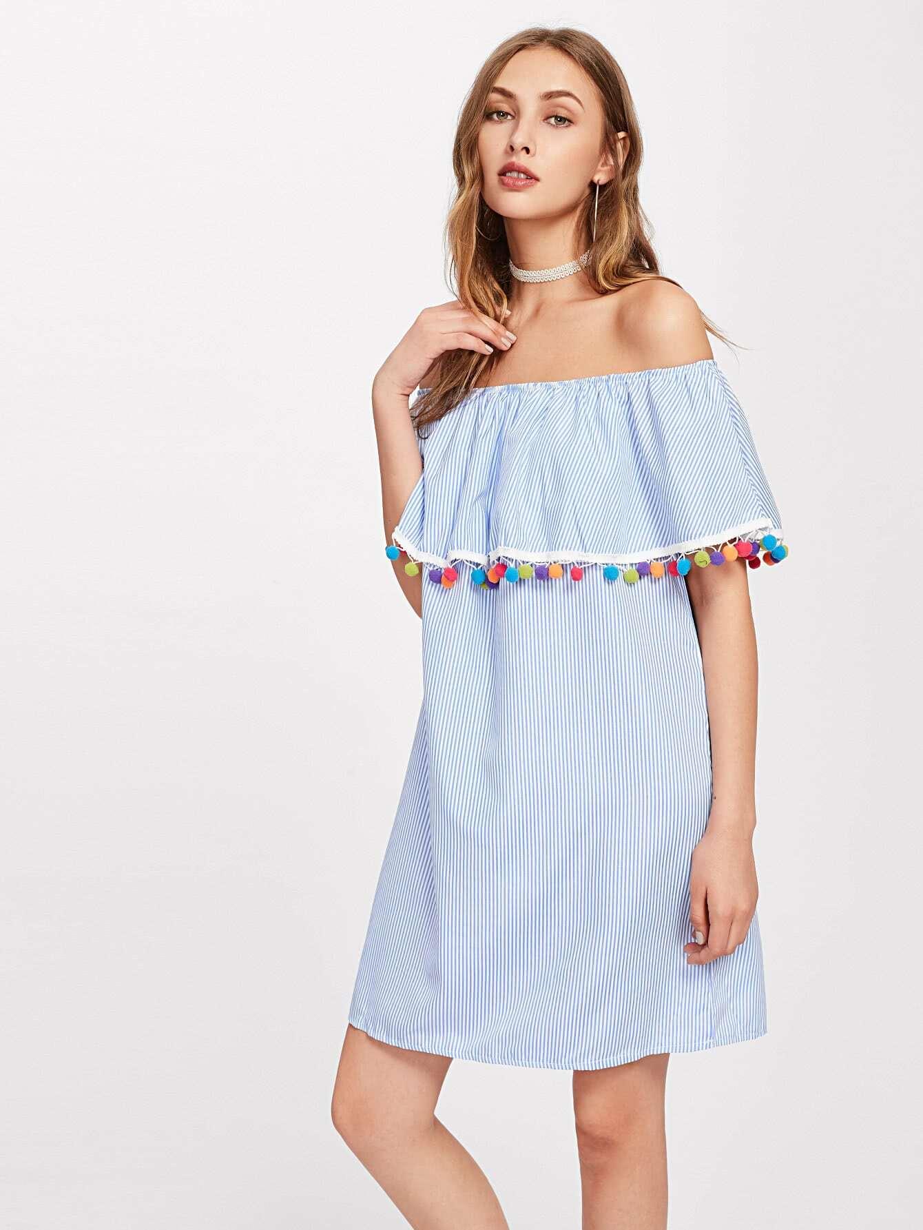 Flounce Layered Neckline Stripe Pom Pom Trim Dress