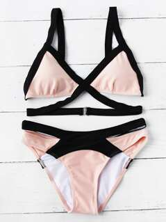 Two Tone Contrast Trim Triangle Top With High Leg Bikini
