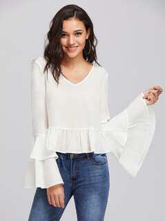Tiered Bell Sleeve Ruffle Hem Blouse