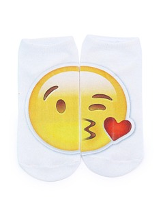 White Emoji Cute Ankle Socks