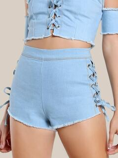 Lace Up High Rise Denim Shorts DENIM