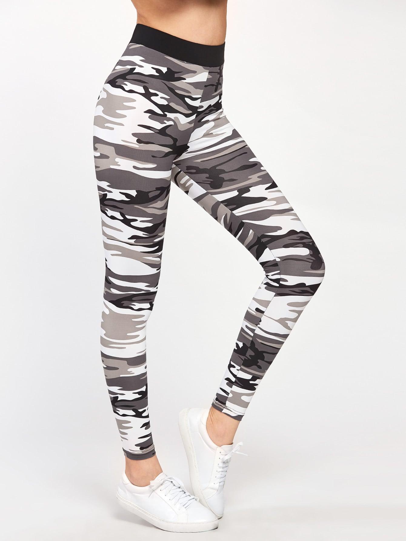 Contrast Waist Camo Leggings wide waist camo print leggings