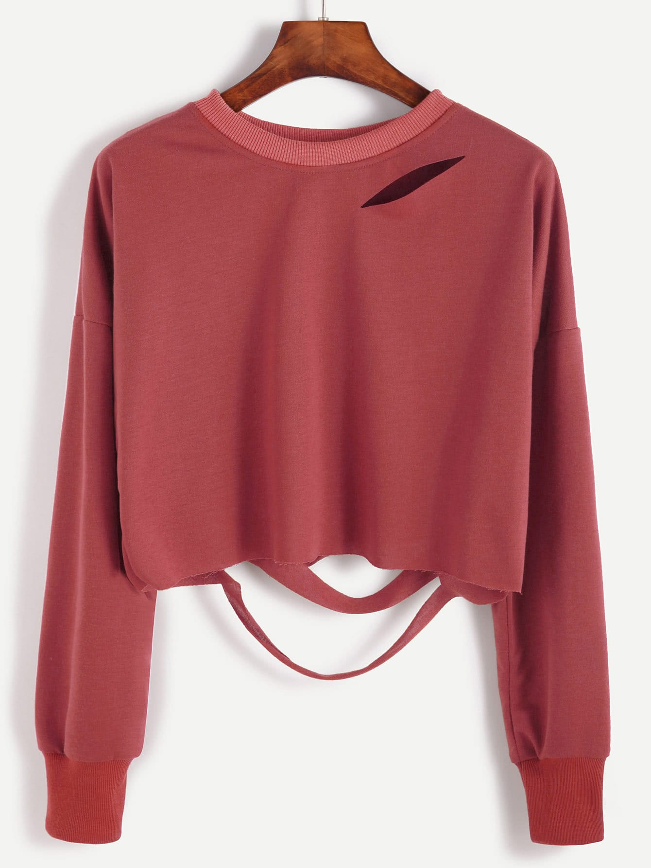 Brick Red Drop Shoulder Cut Out Crop T-shirt цена и фото