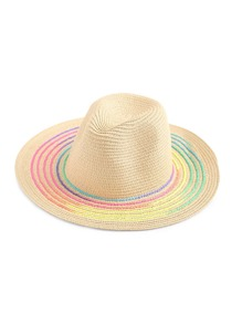 Sombrero de paja con borde de color irisado
