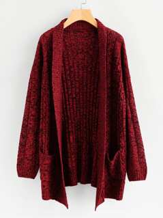 Two Tone Rib Knit Cardigan