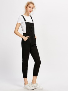 Ripped Rolled Hem Denim Dungaree