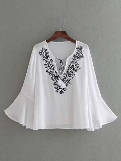 Bell Sleeve Embroidery Tassel Tie Top