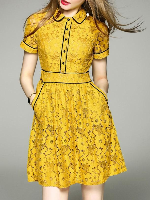 Фото Lapel Pockets A-Line Lace Dress. Купить с доставкой