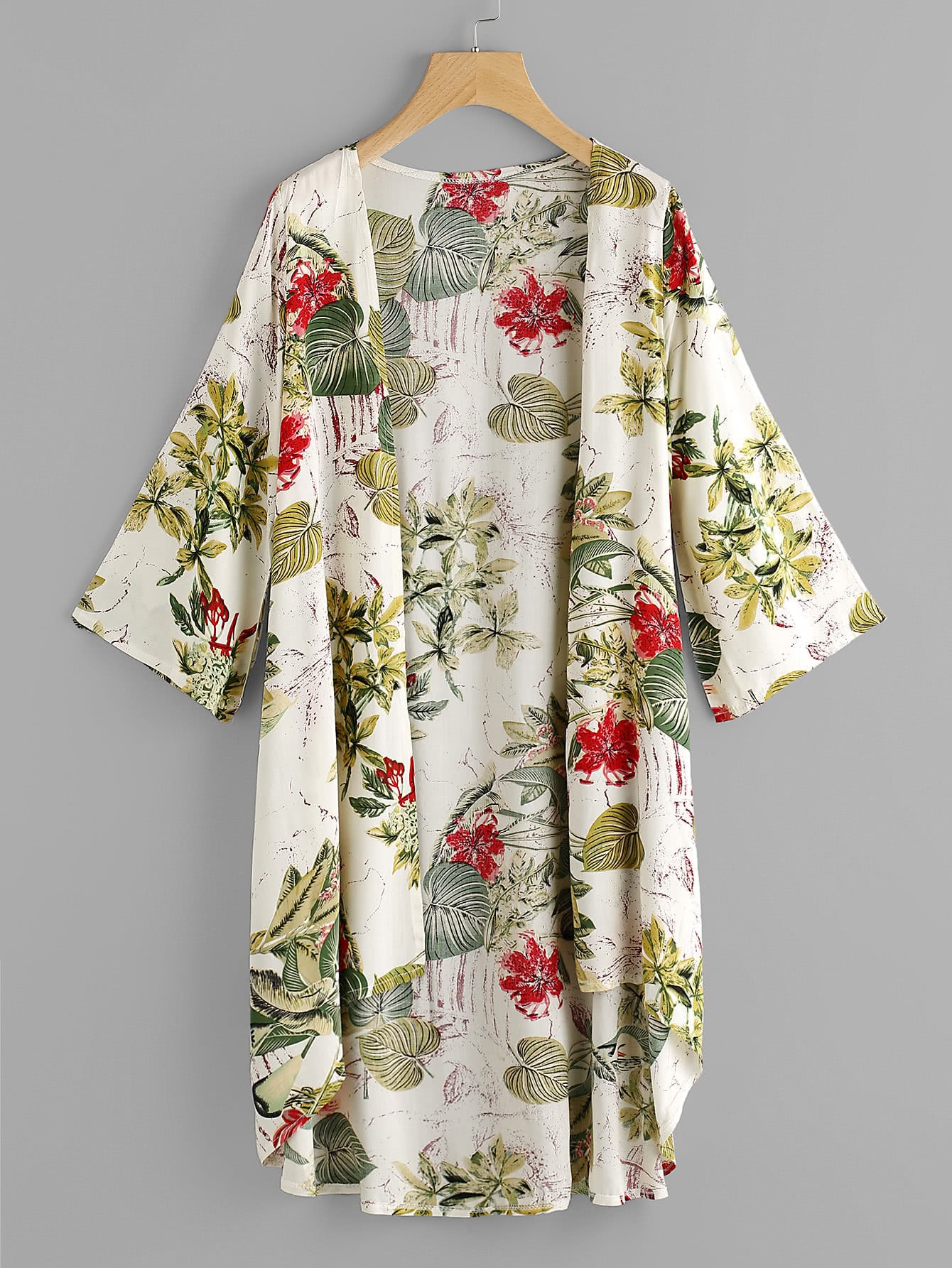 Tropical Print Dip Hem Kimono tropical print dip hem wrap dress